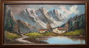 Dipinto olio su tela, paesaggio alpino C.B