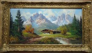 Dipinto olio su tela, paesaggio alpino C.D