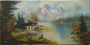 Dipinto olio su tela, paesaggio alpino n.22