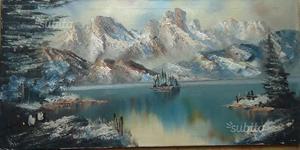 Dipinto olio su tela, paesaggio alpino n.31