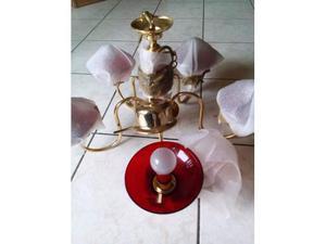 Lampadario oro vetro colorato rosso