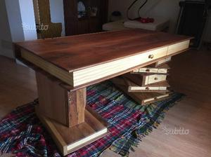 Bancone In Legno Costruito Artigianalmente : Scrivania artigianale in legno 190x94x84 posot class