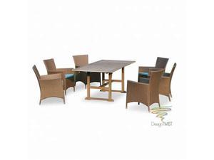 Set Da Giardino Tavolo 6 Sedie In Legno E Vimini Visson