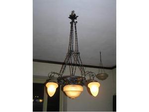 Splendido lampadario in ferro battuto primi '900