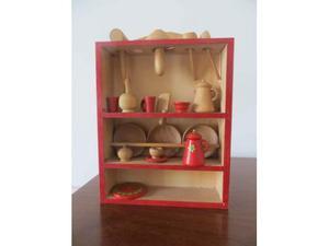 Mobiletto in legno colorato per bambole+accessori cucina