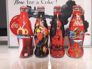 Coca Cola 4 bottiglie vetro con box Cina