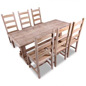 vidaXL 7 pz Set Grande Tavolo e Sedie Sala da Pranzo in Teak