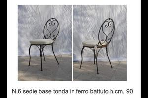 N.6 sedie in ferro battuto