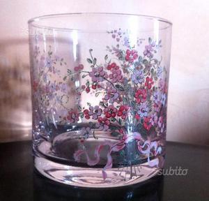 Vaso in vetro trasparente decoro floreale vintage