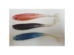 Set 3 pezzi pesci esche artificiali in gomma silicone per