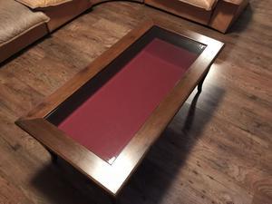 Tavolino noce arte povera vetrina e contenitore
