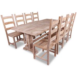 vidaXL 9 Pezzi Set Grande Tavolo e Sedie Sala da Pranzo in