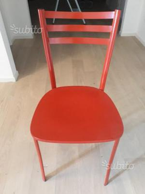 Vitra 4 sedie rosse verner panton posot class for Sedie cucina rosse