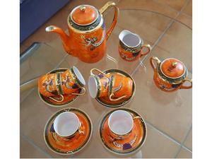 Antico servizio di caffè per 6 persone in porcellana cinese