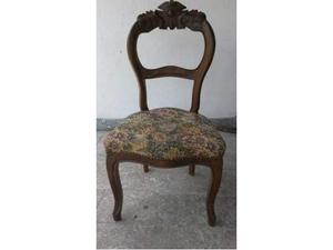SEI sedie Luigi Filippo in noce, restaurate.