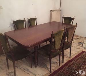 sala soggiorno anni 30 con tavolo e 6 sedie come foto