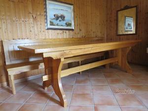 Tavolo + Panca in legno massiccio