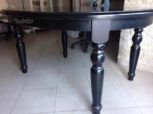 Tavolo legno massello laccato nero