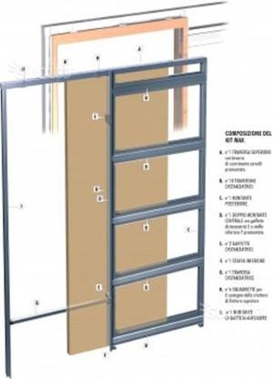 Porta scomparsa 70x210 controtelaio cartongesso posot class for Porte scorrevoli doortech