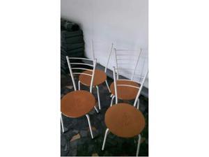 4 sedie in legno e metallo