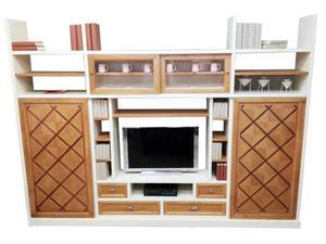 Libreria da soggiorno in legno massello con porte scorrevoli