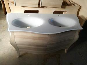 Mobile bagno doppio lavabo da 140 cm massello grezzo