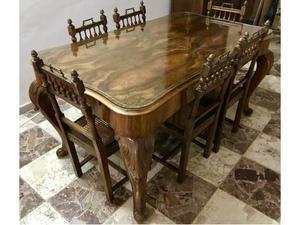 Tavolo con 6 Sedie in Legno Noce a Massello del periodo 800