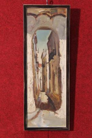 Dipinto olio su tela impressionista con scorcio