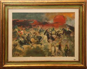 Emanuele Cappello pittore olio su tela battaglia