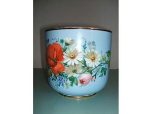 Vaso in ceramica, anni '50, decorato a fiori