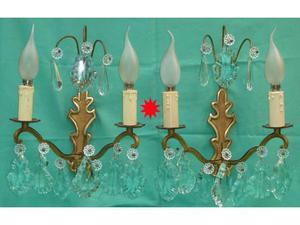 Applique antiche coppia due luci ottone gocce cristallo posot class