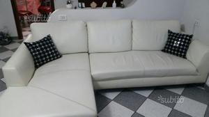 Divano con penisola in pelle bianca posot class - Copri divano con penisola ...