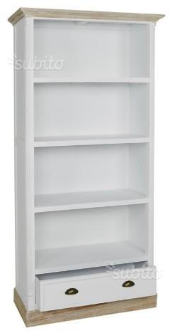 Libreria bianca shabby con cassetto