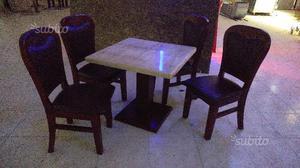 Tavoli e sedie lotto legno e pelle buonissimo stat