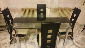 Tavolo in vetro e 4 sedie soggiorno