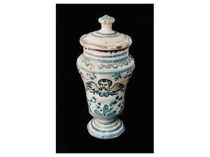 Vaso albarello in ceramica maiolica Italia meridionale '700