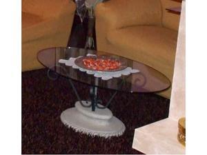 Tavolino in ferro battuto con vetro ovale