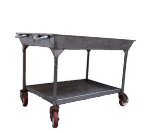 Carrello di servizio con una vasca in acciaio inox