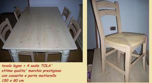 tavolo cucina in legno + 4 sedie tola'