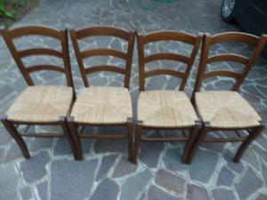 4 sedie in legno con seduta in paglia