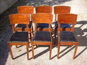 Sedie Vintage Pelle : 6 sedie stile liberti legno pelle vintage anni posot class