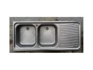 Doppio lavabo acciaio con scolastoviglie