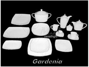 Gardenia platino servizio tavola piatti porcellana bone