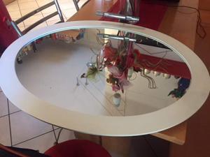 Specchio da bagno con cornice in legno