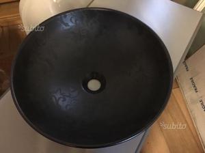 Lavabo bagno d'appoggio tonda di colore nero
