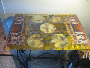 Tavolino in ferro battuto da interno o esterno, inserzioni