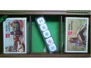 Carte gioco coca cola poker anni 80 cofanetto legno dadi