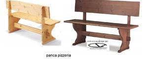 Panche per pub con schienale in legno massello 130x45