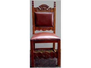 4 Sedie in legno e pelle da restaurare