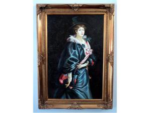 Dipinto olio su tela firmato personaggio dama con cappello